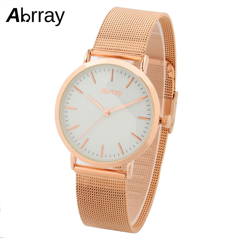 Abrray Luxury Brand Women Watches Fashion Rose Gold Color Ladies Watch Ultra Thin Quartz Wristwatches Relogio