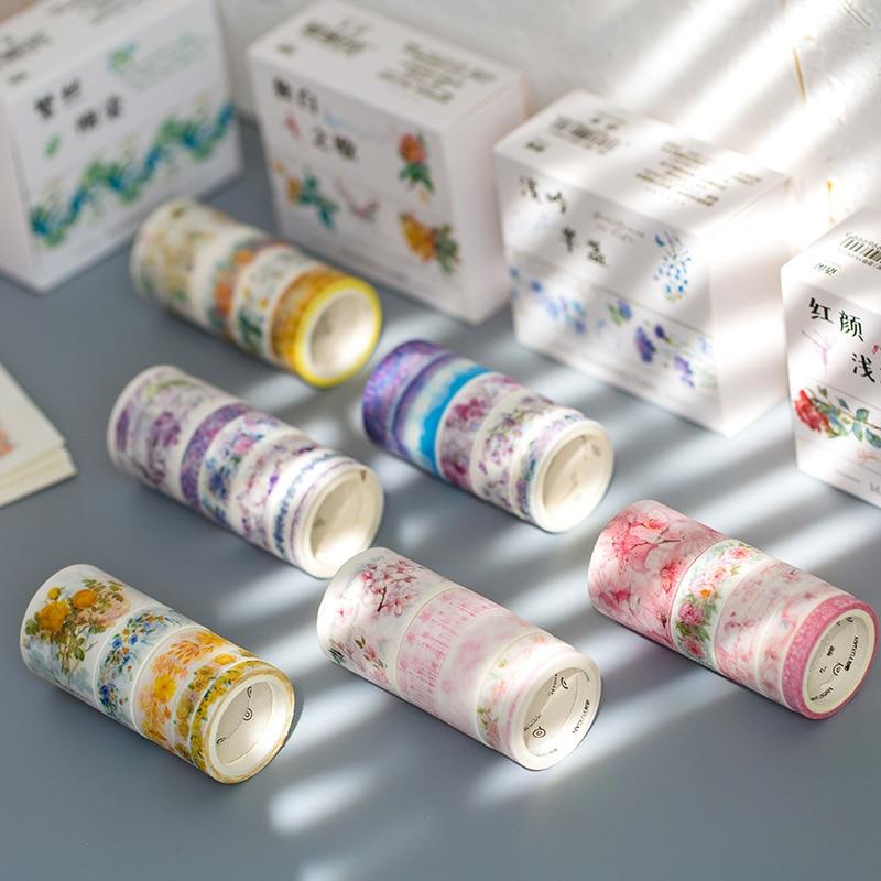 10 Pcs/pack Dawn Flowers Series Bullet Journal Gilding Washi Tape Set Adhesive Tape DIY Scrapbooking Sticker Craft Masking Tape