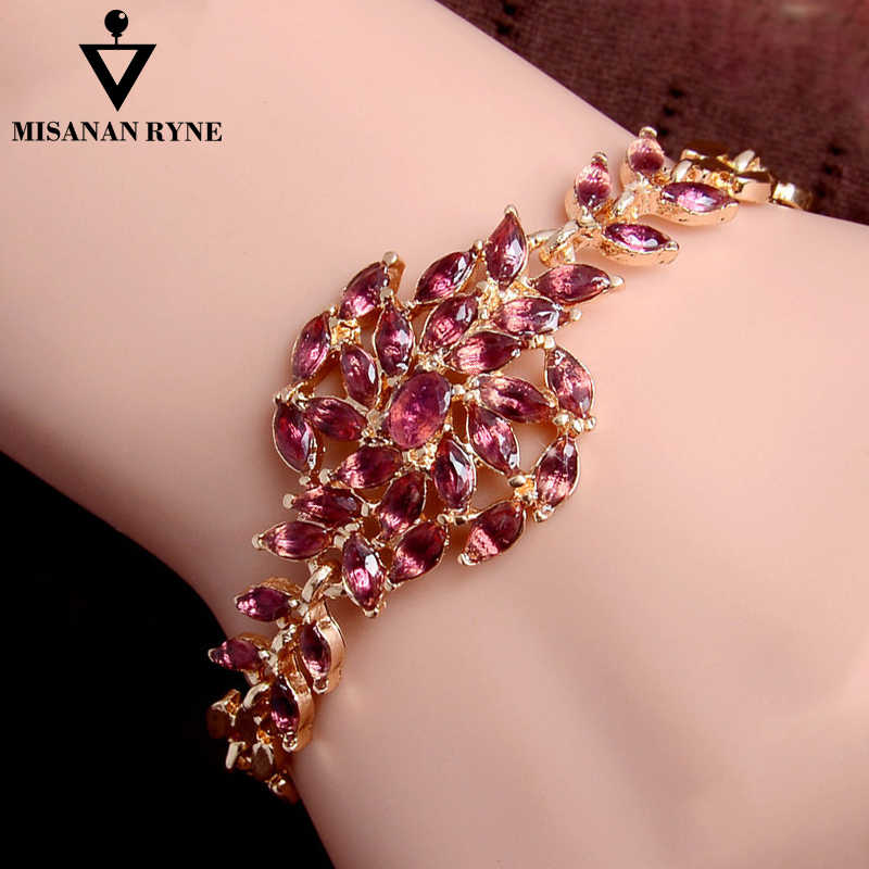 MISANANRYNE  Gold Color Chain Shiny Austrian Crystal Beautiful Womens Bracelet Jewelry Wholesale