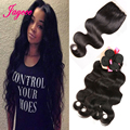 Good Quality Ms Lula Brazilian Body Wave With4x4 Lace Closure1B Natural Brazilian Virgin Hair Weave Bundles With Closure On Sale
