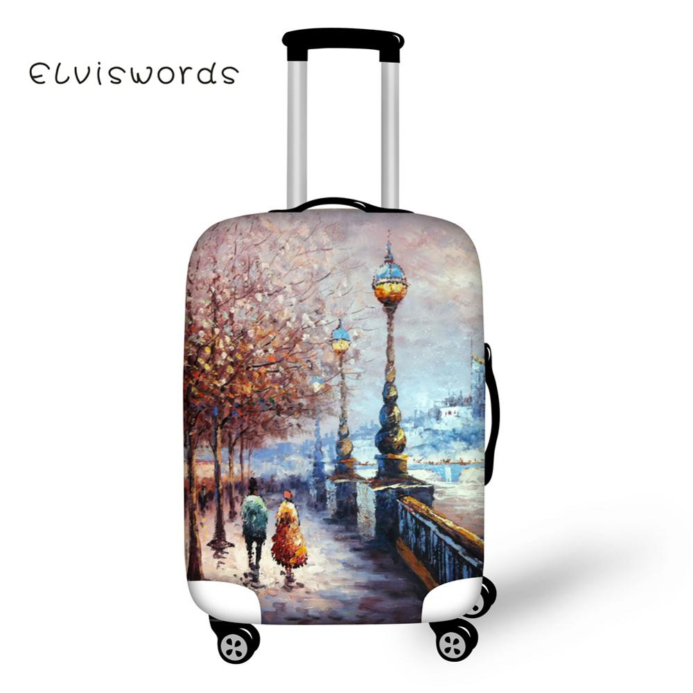 ELVISWORDS Pretty Scenery Travel Luggage Protective Covers Anti-dust Elastic 18-28inch Waterproof Trolley Suitcase Cover