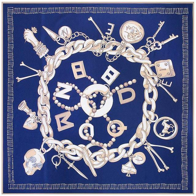 Patrón de la Cadena de moda de Mujer de Marca Bufanda Cuadrada de Seda Twill Twilly Skull Imprimir Foulard Femme Nueva 130x130 cm