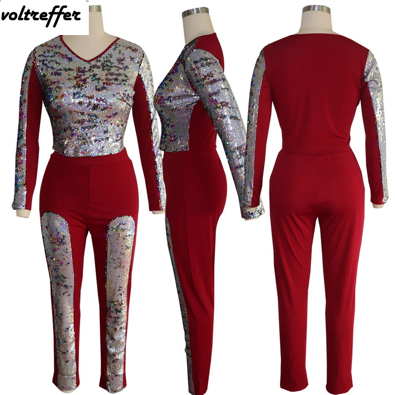 Colorful Sequins Two Piece Set Crop Top And Pants Sweat Suit Sexy Glitter Outfits Sparkly Matching Sets Casual Costumes Spring