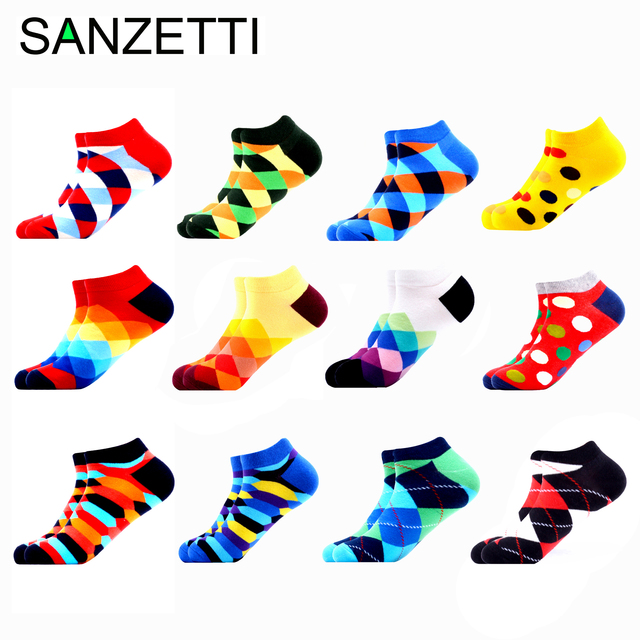 SANZETTI 12 זוגות\חבילה גברים מקרית קיץ קרסול גרבי צבעוני שמח מצחיק מסורק כותנה פסים חידוש היפ הופ Tendy קצר גרביים