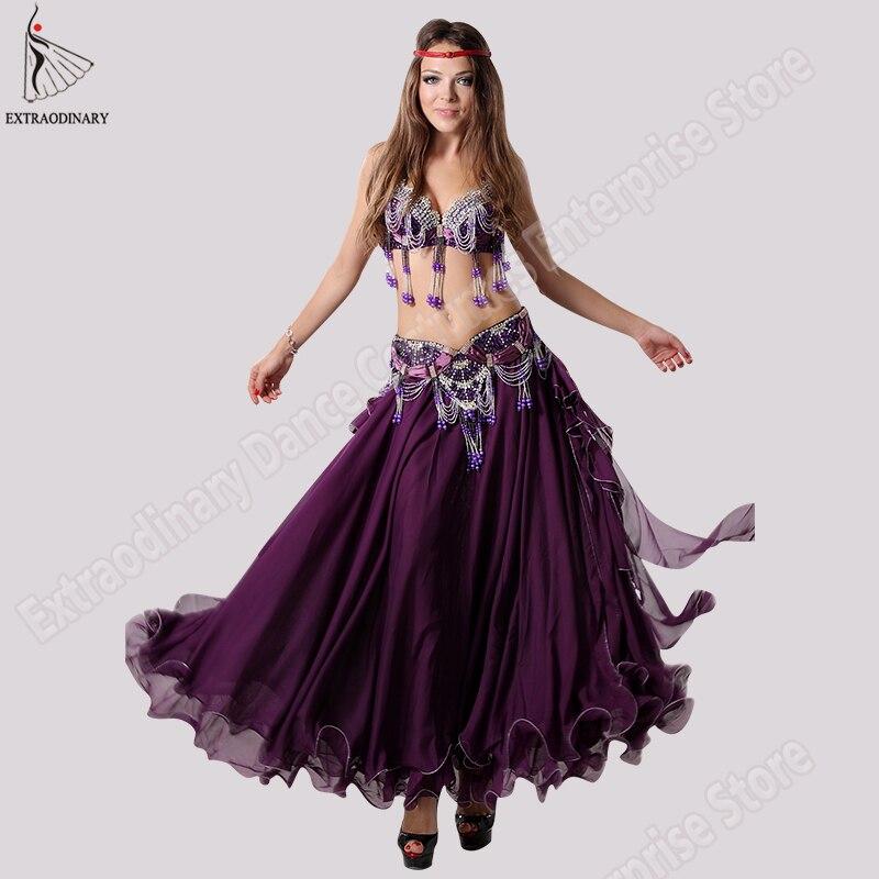 Fashion Dancewear Sexy Belly Dance Costumes Set Bra Women Skirt Belt Clothing Bellydance Long Dress Oriental
