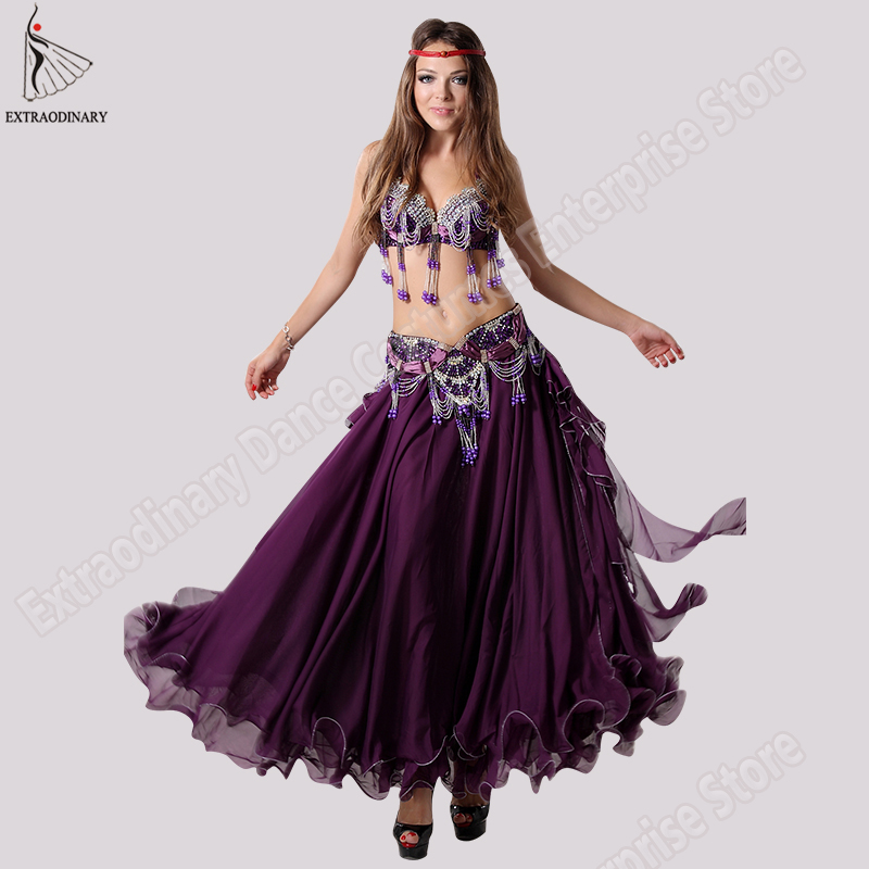 Fashion Dancewear Sexy Belly Dance Costumes Set Bra Women Skirt Belt Clothing Bellydance Long Dress Oriental Beads Costume-in Belly Dancing from Novelty & Special Use    1