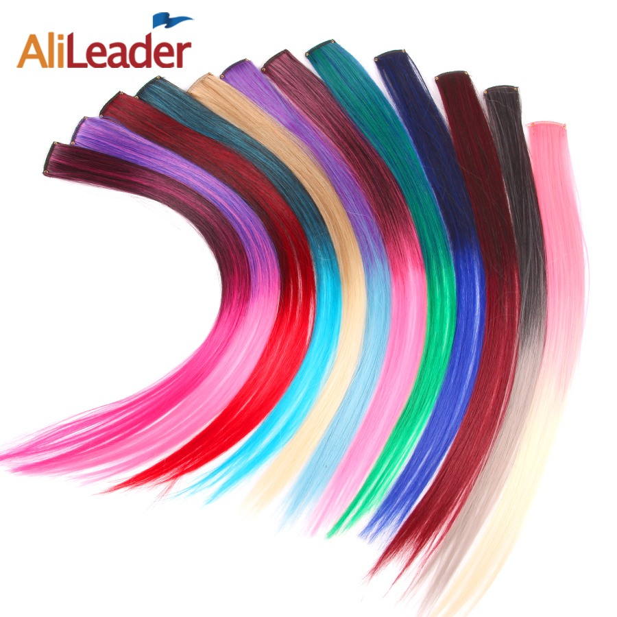 AliLeader 87 Colored Long Straight Ombre Synthetic Hair Extensions Pure Clip In One Piece Strips 20