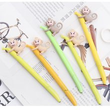 30 pcs/Lot Kawaii monkey gel pen Sweet banana 0.5mm Black color roller pens Stationery Office accessories School supplies FB748(China)