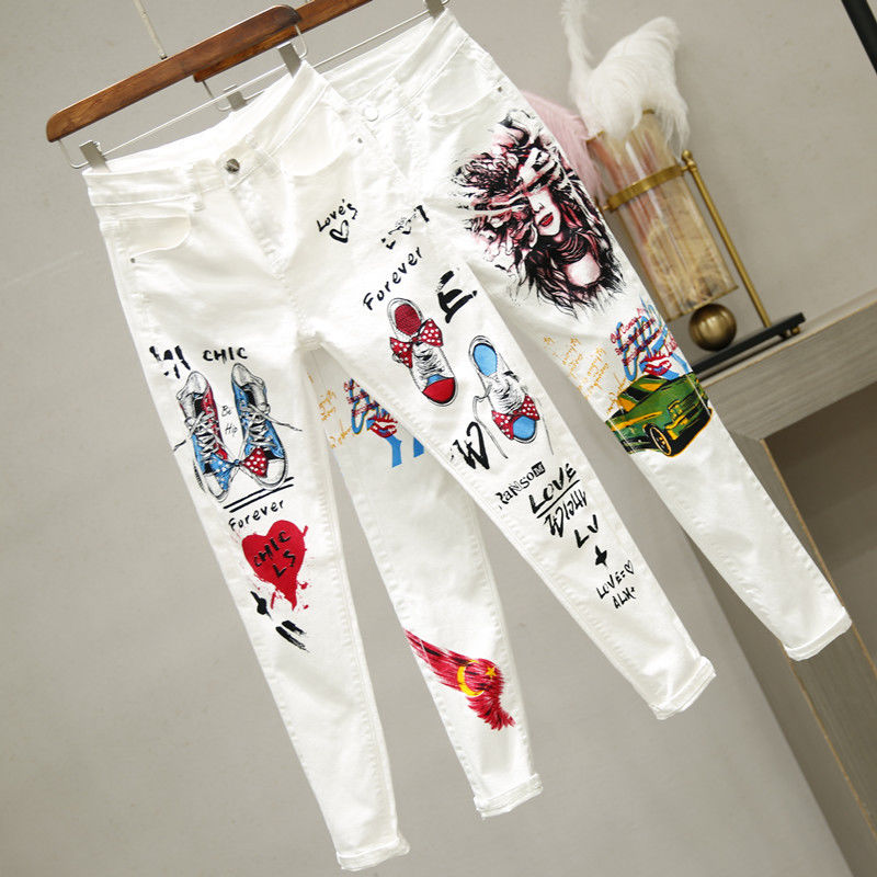 Summer Spring Women Denim Jeans Cartoon Graffiti Flowers Print Skinny Stretched Jeans Pencil Pants Denim Slim Capris Jeans NZ60
