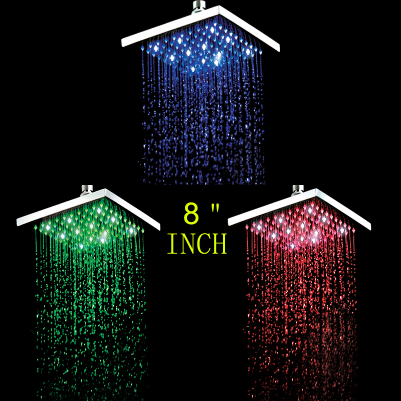 Superfaucet LED shower head,Led Rainfall Shower,,Faucet Shower,color change,temperature control water freeshipping brass 10 inch led shower head led shower temperature led water led bathroom faucet shower