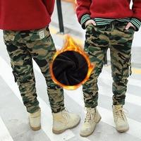 Teens Boy Winter Fleece Amy Camo Color Loose Fit Wide Leg Pant Big Boys Pants Teenage Casual Trousers Elastic Waist Cotton