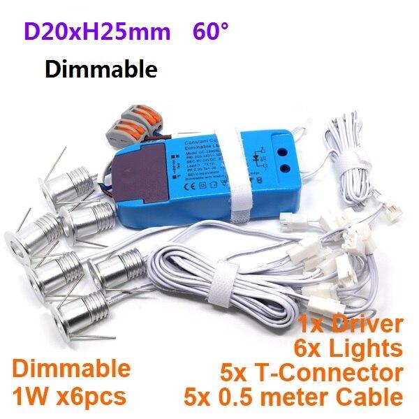 D20xH25mm 1 W 6 Pcs/ensemble Mini Led Down light Lampe 100L-130Lm/W Spot Plafonnier pour Cabinet Placard 5 ans de Garantie