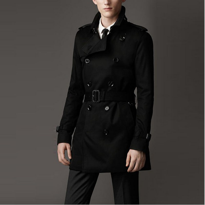 Customize Top British Slim Double Breasted Mens Long Trench Coat Europe Trenchcoat