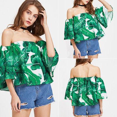 ef58454e7f Women Blouses 2018 Tropical Green Palm Leaf Print Sexy Off Shoulder Beach  Summer Tops Fashion Casual ...