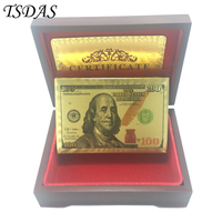 Collectible USD 100 Dollar Gold Plated Poker Cards With Red Wooden Box Table Games Drop