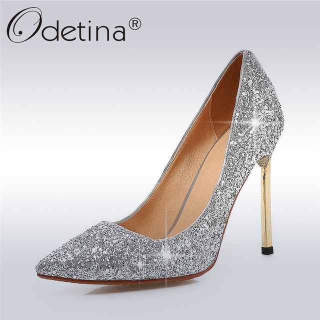 64a81c4746cd Odetina 2017 New Fashion Ladies Silver Glitter Pumps Bling High Heels Shoes  Party For Woman Pointed Toe Stilettos Big Size 32-43