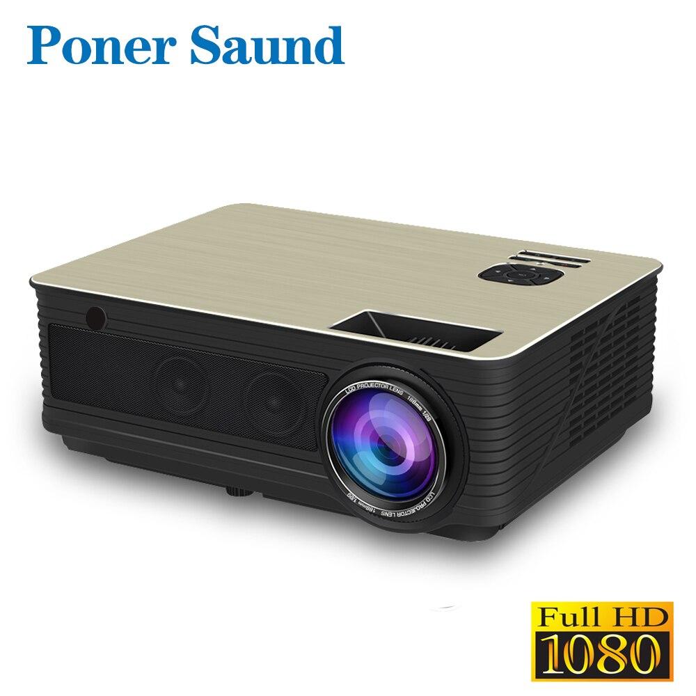 Poner Saund M5 proyector LED Full HD 1080P 3D Android 6,0 Projetor 4500 lúmenes de pantallas HDMI USB proyector WiFi Bluetooth