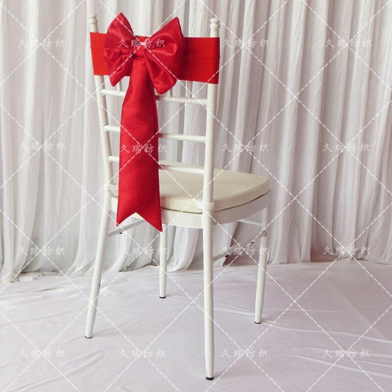 Offre spéciale ceinture de chaise en taffetas rouge pour événement de mariage et décoration de fête