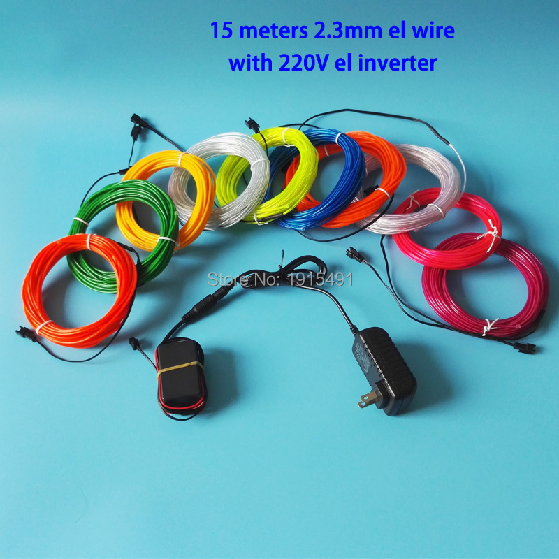 10 Colors Optional AC100 220V Drive 2.3mm 15Meter EL wire rope tube flexible LED neon glowing light For DIY Party Car decoration