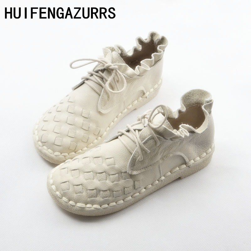 HUIFENGAZURRS new 2019 Head layer cowhide pure handmade weave shoes,lady the retro art mori girl shoes,lady  Casual shoes,4color-in Women's Flats from Shoes