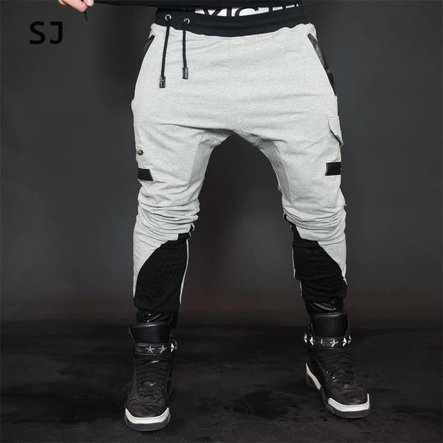 2016 winter harem pants men cotton  joggers motorcycle brand clothing