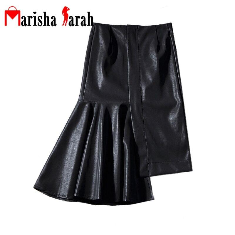Autumn Winter Black Faux Leather Sexy Asymmetrical Mermaid Skirt 2017 Chic Fashion Women Sheath Lady Knee-Length Skirts faldas