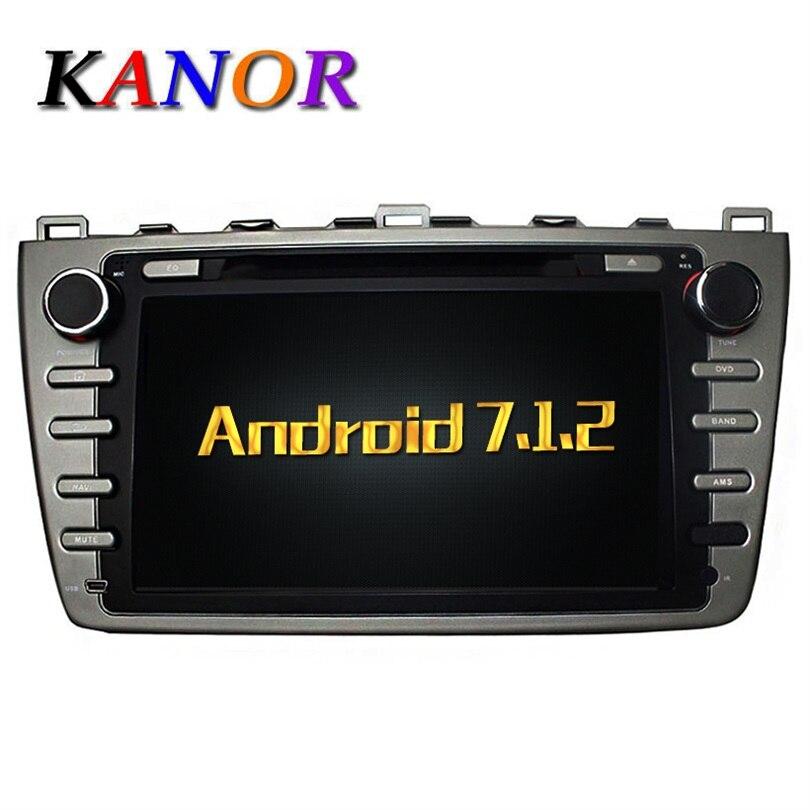 Kanor Android 7.1 Quad Core Оперативная память 2 г автомобильный DVD GPS Радио стерео для Mazda 6 Ruiyi 2008 2009 2010 2011 2012 wffi SWC Географические карты BT аудио