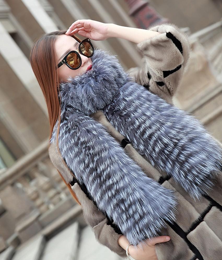 YCFUR Brand Design Fashion Women Scarves Winter Stripes Silver Fox Fur Scarf Female Winter Wraps Scarves Collars Ladies 9