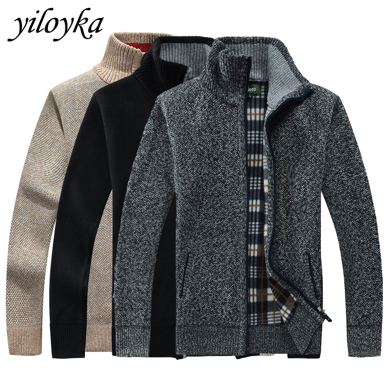 Autumn Winter Men's Sweater Turtleneck Men Coat Faux Fur Wool Sweater Jackets Men Zipper Knitted Thick Coat Casual Knitwear 3XL