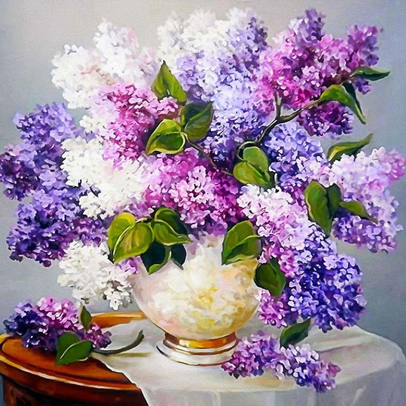 Φ_ΦDIY 5d púrpura flor de lavanda cuadrados Cuadros de punto de cruz ...