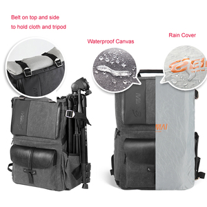 Image 5 - Eirmai Grey Canvas Large Capacity Camera Video Shoulders Backpack Waterproof w Rain Cover fit 15inch Laptop for DSLR Photo Drone