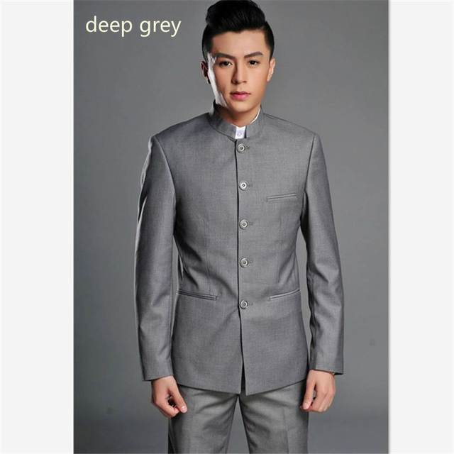 Chinese Mandarin Collar Suits Mens Chinese Style Slim Fit Traditional Wedding Jacket Free Shipping