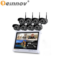 "EINNOV 8CH 960P WI-FI Video Security System with 12"" LCD Monitor Screen Wireless NVR CCTV System 7pcs/8pcs 36 IR WIFI IP Camera"