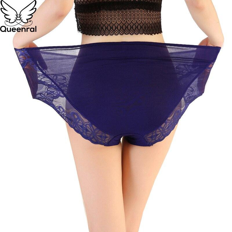 Queenral Sexy   Panties   Women Underwear Seamless Silk Briefs Transparent   Panty   For Female Modal Cotton Plus Size 4XL 5XL 6XL
