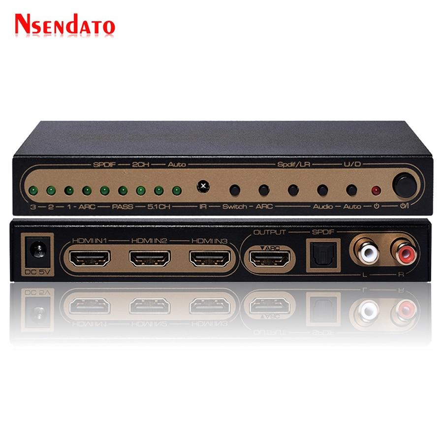 4 K 60Hz UHD HDMI 2.0 Audio Extracteur Commutateur HDR HDMI 3x1 Convertisseur avec IR SPDIF L/R sortie Soutien AC3 3D ARC Pour PS4 XBox DVD