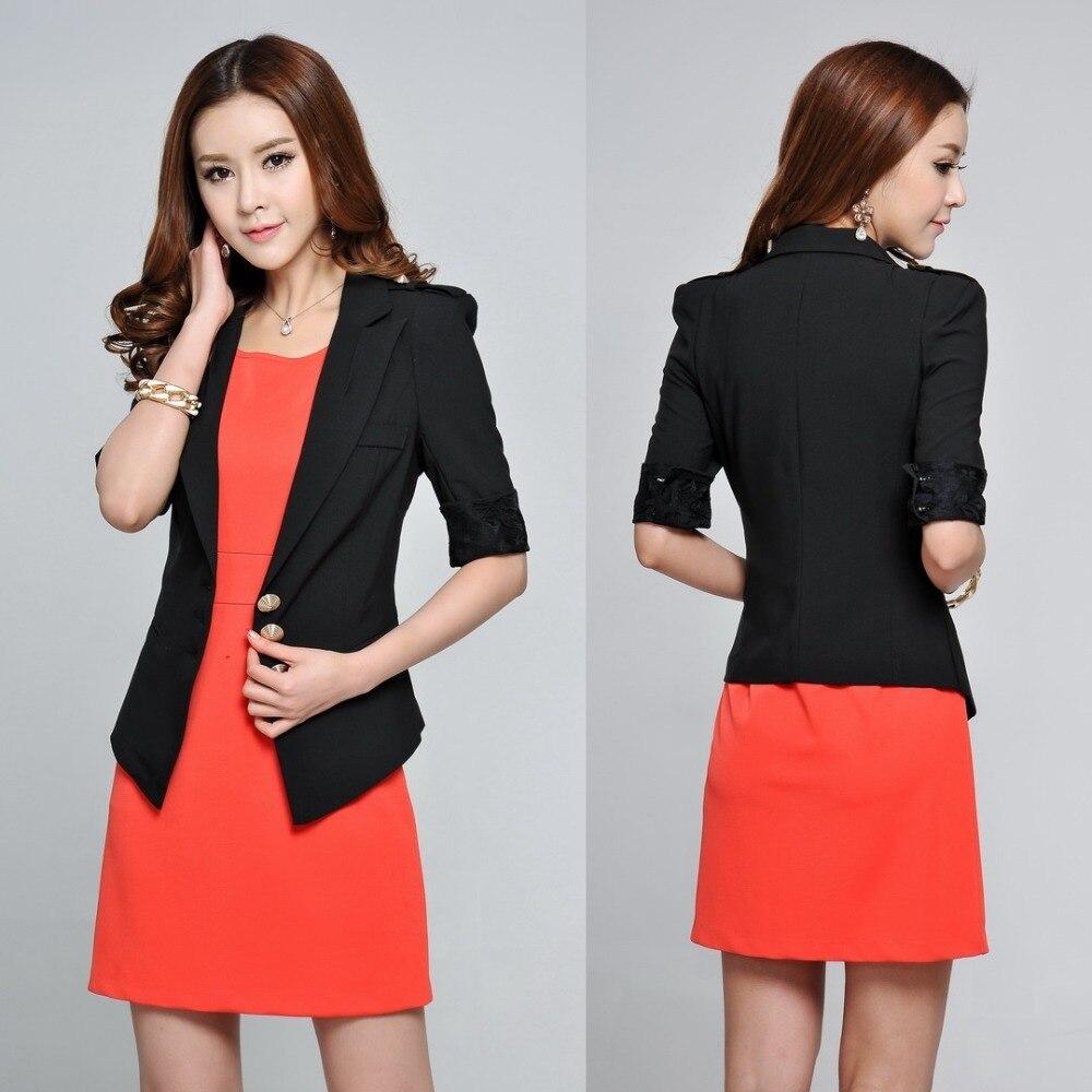 Fashion Las Black Blazer Women Outerwear Jackets Half Sleeve Slim Blaser Feminino Spring Office Uniform Style Work Clothes In Blazers From S