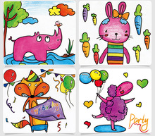 12pcs Colorful Graffiti Paper DIY Children Educational Toys New Fun Doodling Scratch Kids Creative Painting Stickers