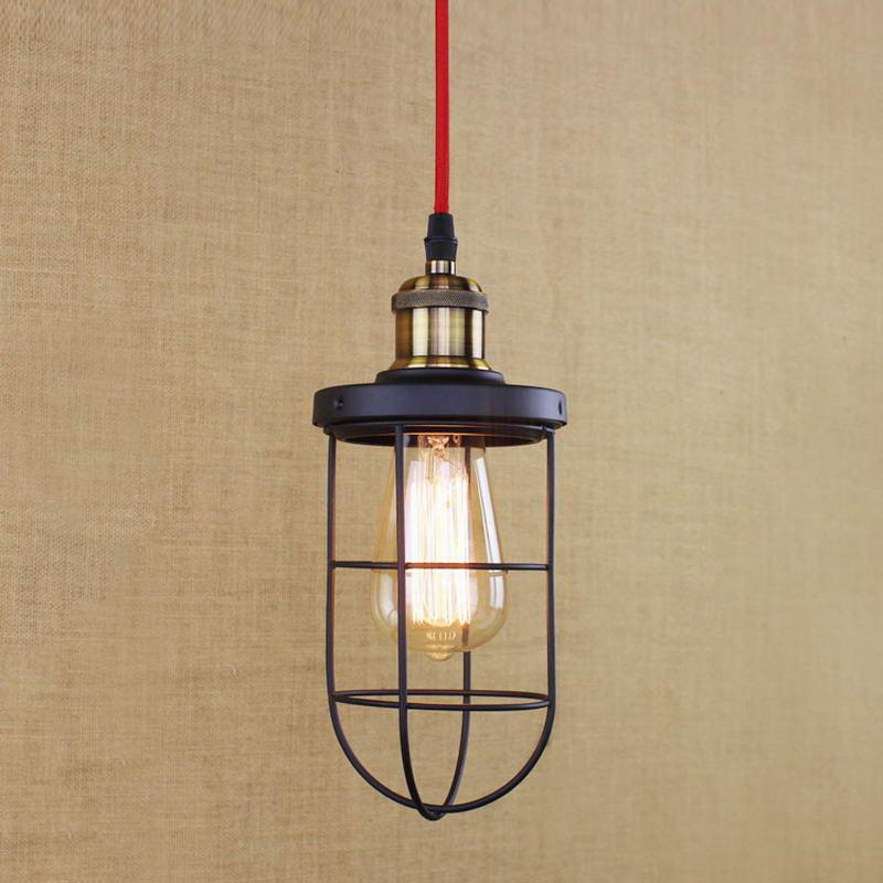 Лофт Промышленные черный ретро металлической проволоки подвесной светильник/Edison прост ...