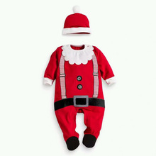 2016 Christmas Baby Costume Kids Newborn Clothes Long Sleeve Children Infant Clothing Set Top Hat