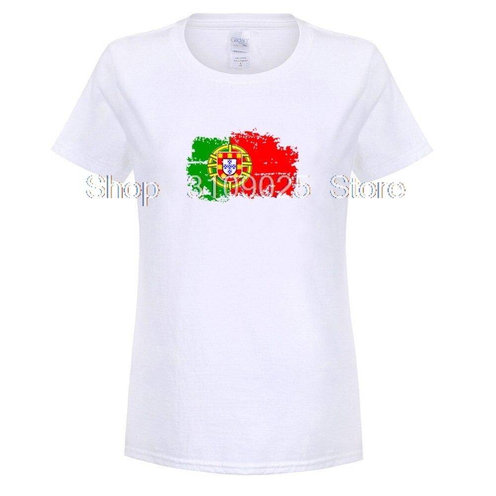 GILDAN Portugal Flag Fashion Tee shirts Short Sleeve T-shirts Reminiscence Portugal Flag Summer Style Fitness T shirts For women