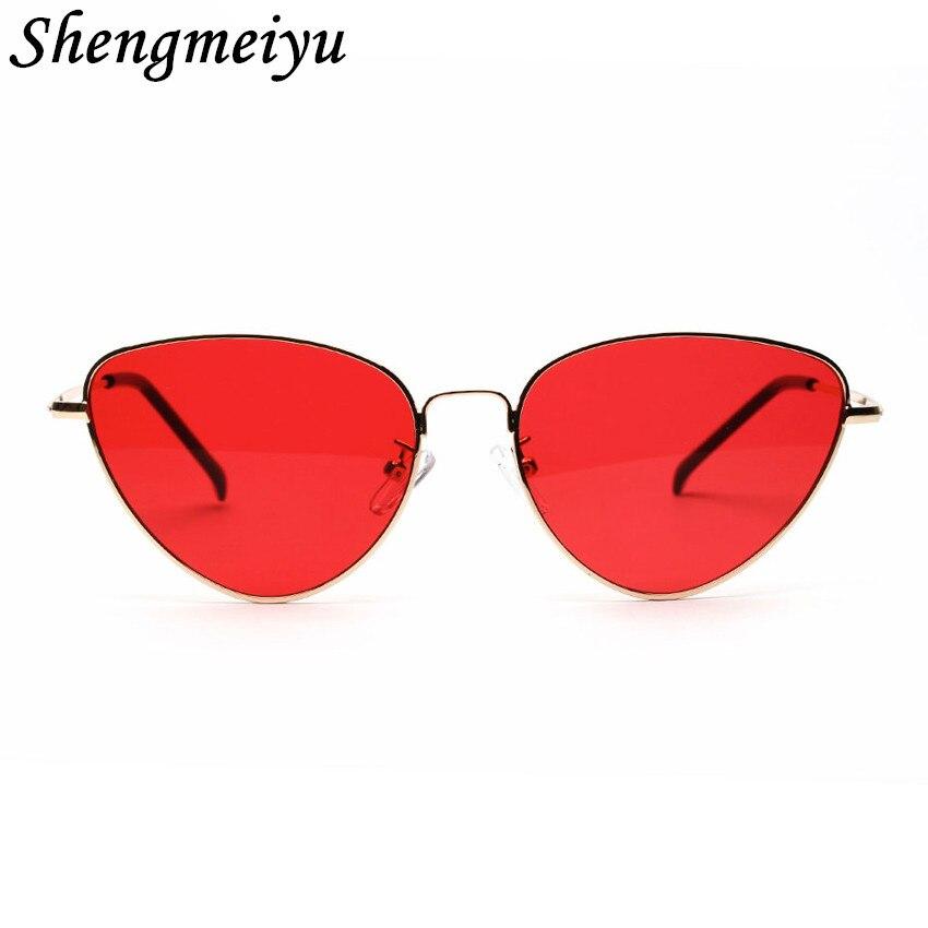 Ретро кошачий глаз Солнцезащитные очки для женщин Для женщин желтый красный объектив Защита от солнца очки мода свет Вес Защита от солнца стекло для Для женщин Винтаж металлические очки