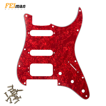 Pleroo Guitar Accessories strat HSS Pickguard with 11 Screws for Fender Deluxe Stratocaster Floyd Rose Bridge Cut st guitarra fender pm 1 deluxe dreadnought sbst