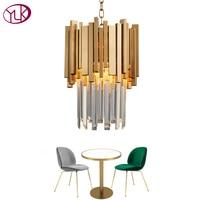 Youlaike Золотая люстра освещение один свет обеденная светодиодный LED кристалл лампы современный кухня Остров Кулон цепи Cristal Lustre