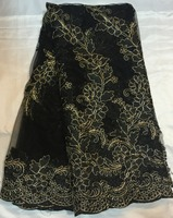 Free Shipping African Black Color Guipure Lace Fabric For Wedding Cupion Lace Cord Lace