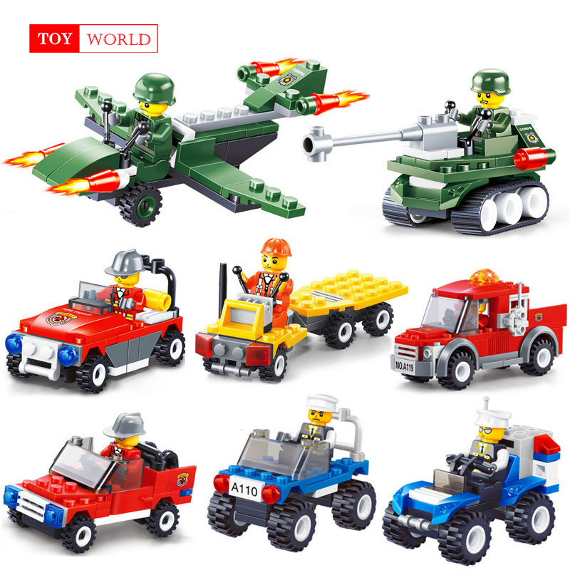 12 Kinds Original Mini Transportation Block Car Building Blocks Compatible legoeINGlys Duplo Soliders Police Bricks zk5