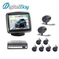 Digitalboy 3 5 Inch Car LCD Display Parking Sensors Assistance Reverse Backup Radar Monitor With 4