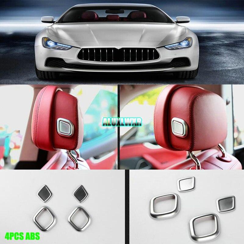 Assento de carro cabeça travesseiro botão ajuste cobre guarnição para maserati ghibli 2014-2017 levante 2016 2017 quattroporte 2013-2017