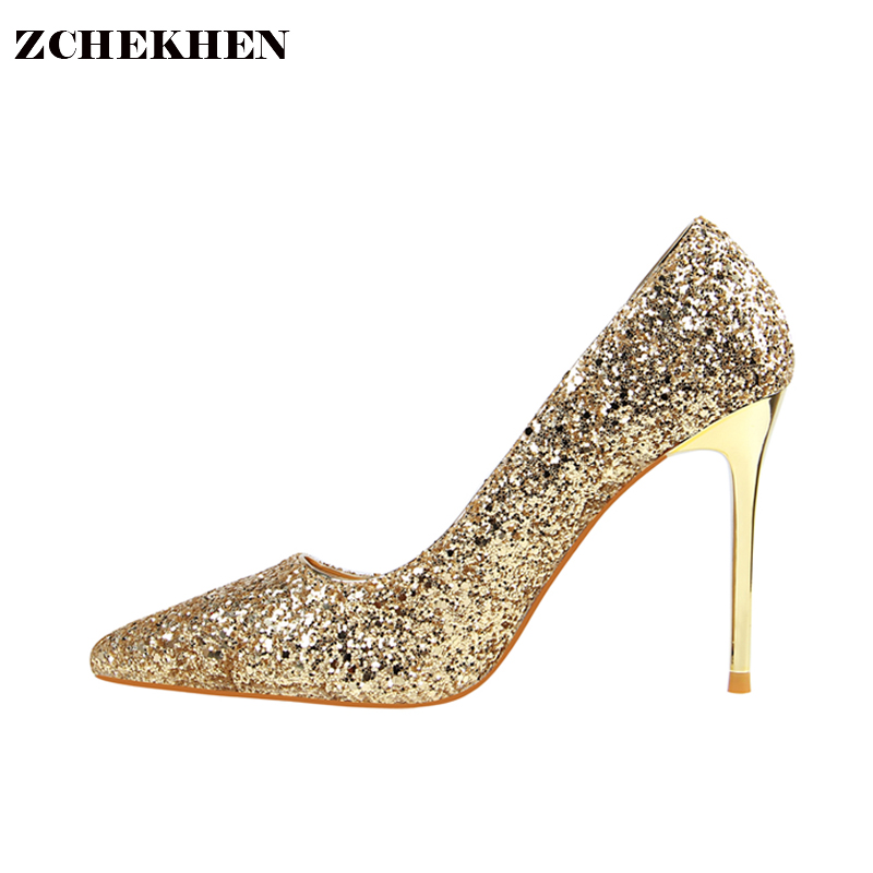 Women Pumps High Heels Silver Glitter Wedding Shoes Woman High Heels Sexy Ladies Shoes Women High Heel Pumps [saziae] red bottom high heels women pumps glitter high heel shoes woman sexy wedding party shoes gold black female sexy pumps