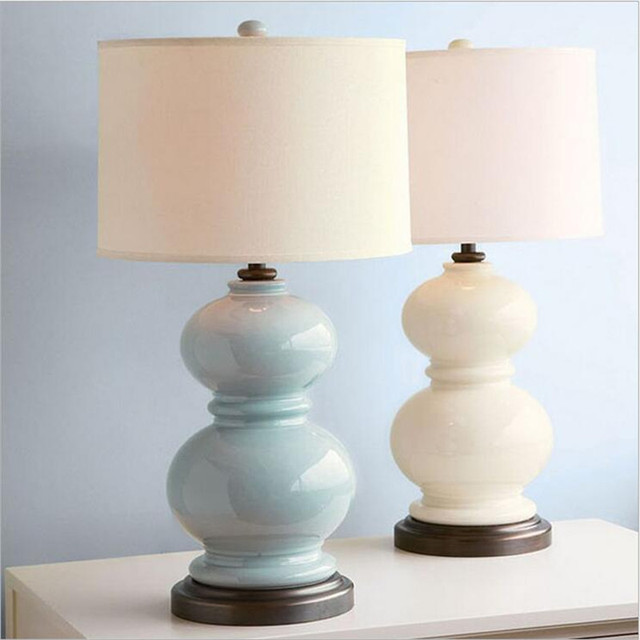 Modern Chinese Bluewhite Ceramic Gourd Fabric Led E27 Table Lamp