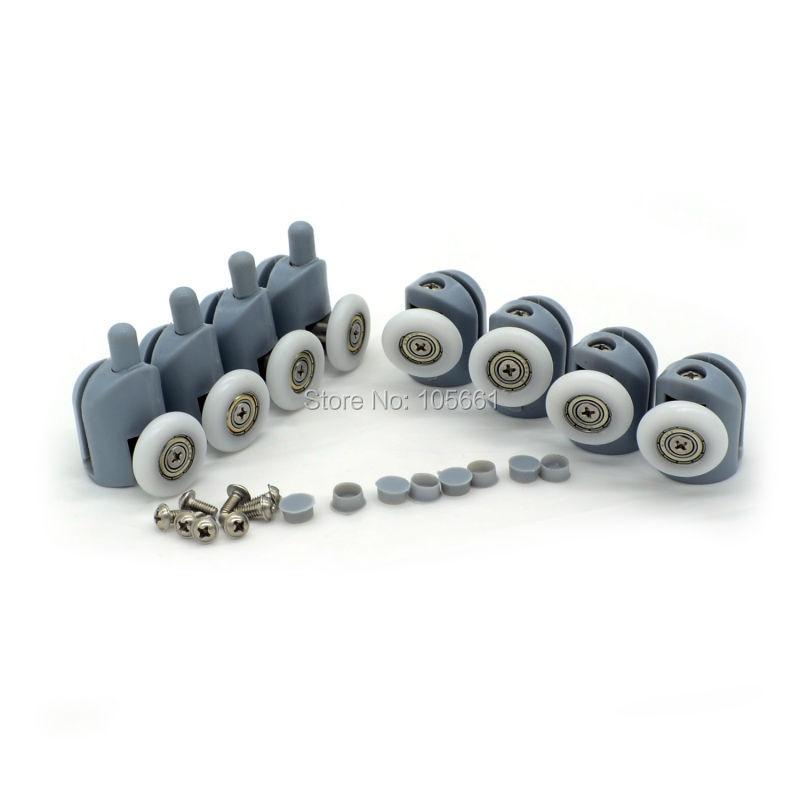 8Pcs/Set  Singel Top/Bottom Shower Door Rollers Runners Wheels Pulleys 23MM/25MM/Screw Cover Caps Supplied